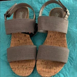 NWT BASS cork wedge gray sandals sz 10
